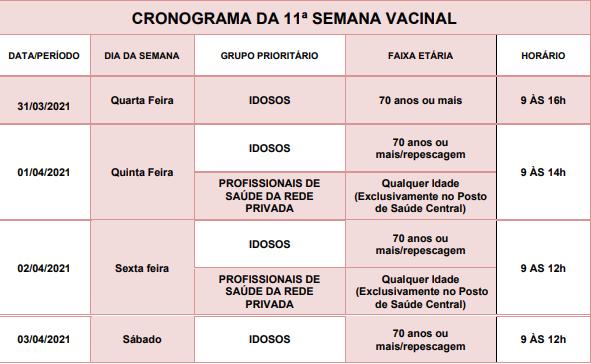 calendário vacinação